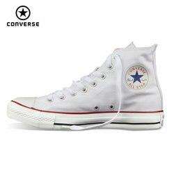 أحذية رياضية أصلية من Converse للرجال والنساء من القماش الكتاني أحذية تزلج كلاسيكية عالية باللون الأسود شحن مجاني