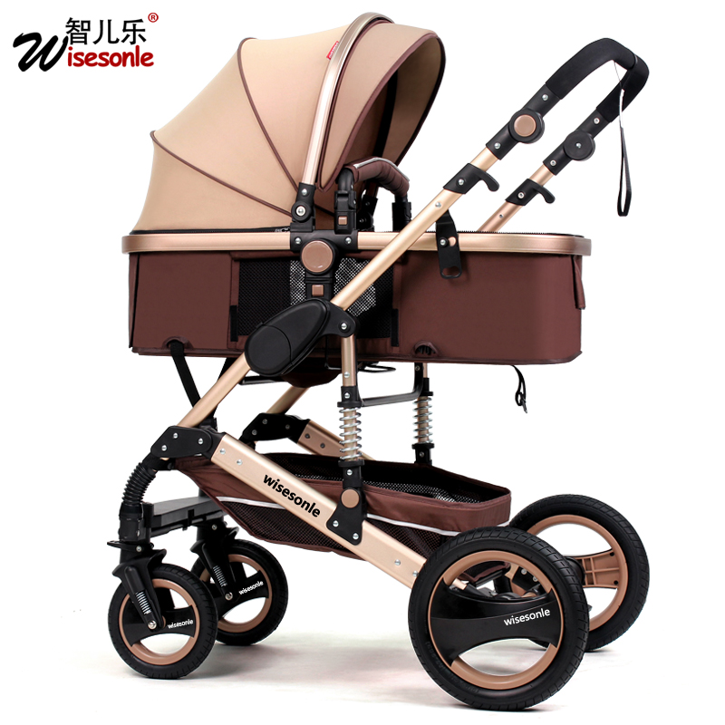 Wisesonle  Baby Stroller High Lying Landscape Can Be Folded In Two-way Four Wheel Suspension And Bb Trolley Car babyfond four wheel stroller ultra portable pu leather umbrella car bb baby stroller capable of sitting and lying trolley suspension