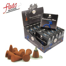 FLUTE 10 Cones/Pack Kamasutra man Aroma Lax Cone Incense Hand Rolled from Indian Light Fragrance Cones For Meditation