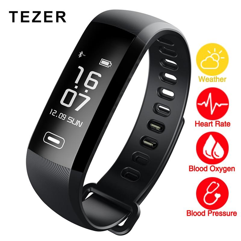TEZER R5MAX smart wrist band Fitness Bracelet Watch intelligent Weather 50 words blood pressure heart rate monitor Blood oxygen