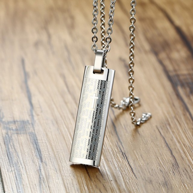 Bar Pendant Silver Color Stainless Steel Men Necklaces