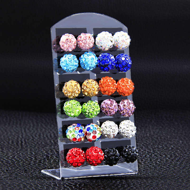 12 Pairs Set 10mm Crystal Clay Brand Stud Earrings Micro Disco Ball Earrings For Women Healthy Fashion Jewelry Dropshipping