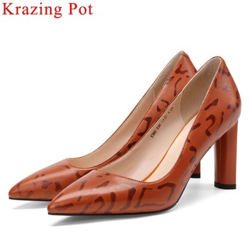 2019 Hollywood movie stars pointed toe sexy shallow pumps thick high heels high quality sheep leather woman dress suit shoes L05