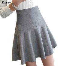 New Women Knitted Skirt Autumn Winter Sexy Solid High Waist Short skirts Umbrella Pleated Ladies Elastic Mini Xnxee