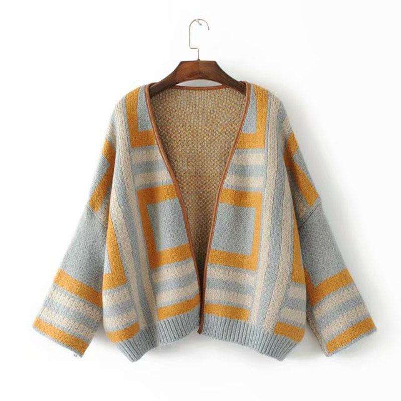 2018 autumn new Japanese women's plaid cardigan knit sweater