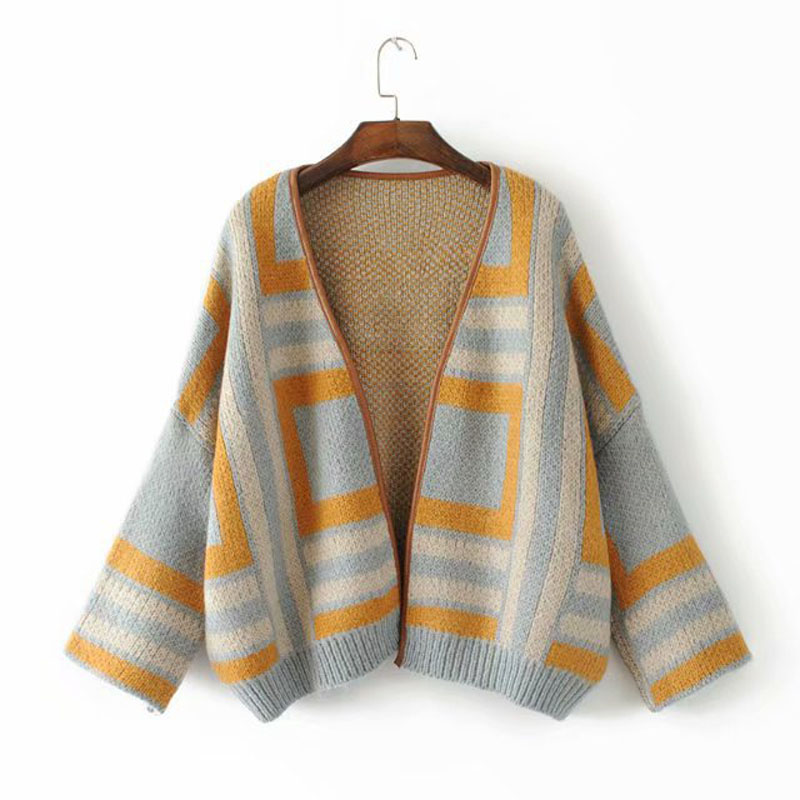 2019 Autumn New Japanese Women's Plaid Cardigan Knit Sweater