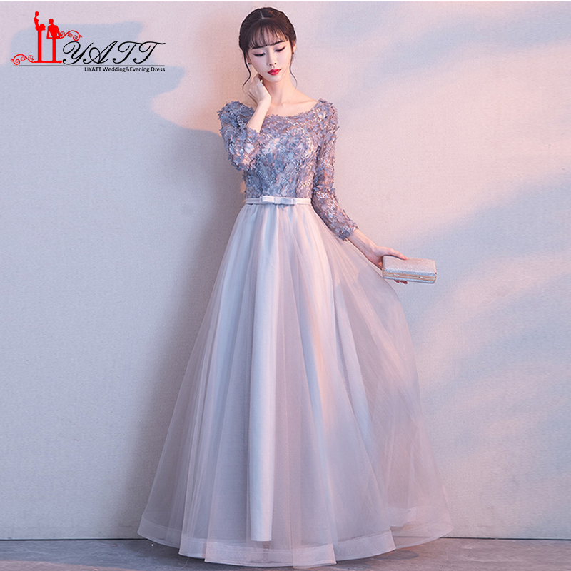 Lace Evening Dress 2018 New Stylish Floor Length Short Sleeve Formal Dresses Banquet Dresses Sashes Custom Size Robe De Soiree Evening Dresses