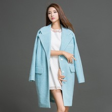 Autumn Winter New Medium Style Wool Coat Women Loose Casual Solid Single Breasted Female Sky Blue Outerwear LY503