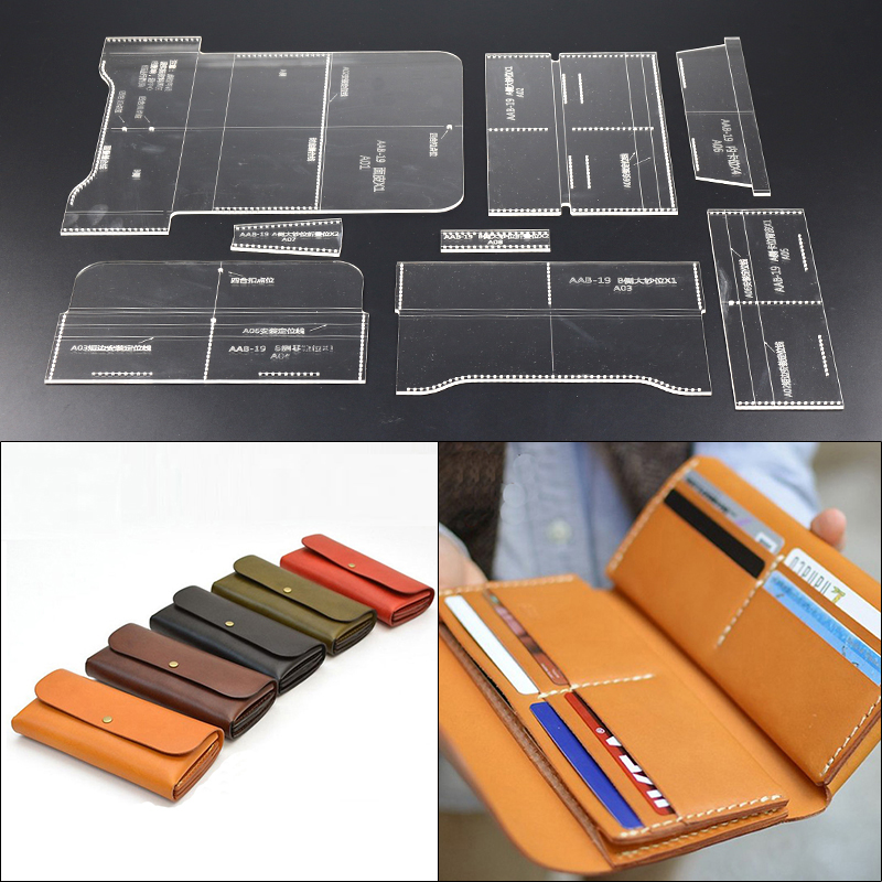 Leather Craft Wallet Sewing Pattern Acrylic Stencil Template DIY Wallet Bag Template handmade craft supplies Tool DIY Set