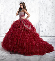 2016 Wine Red Vestidos Quinceanera vestido de Baile Querida Com o Crystal Beading Organza Lace Up Voltar Doce 16 Debutante Vestidos do baile de Finalistas