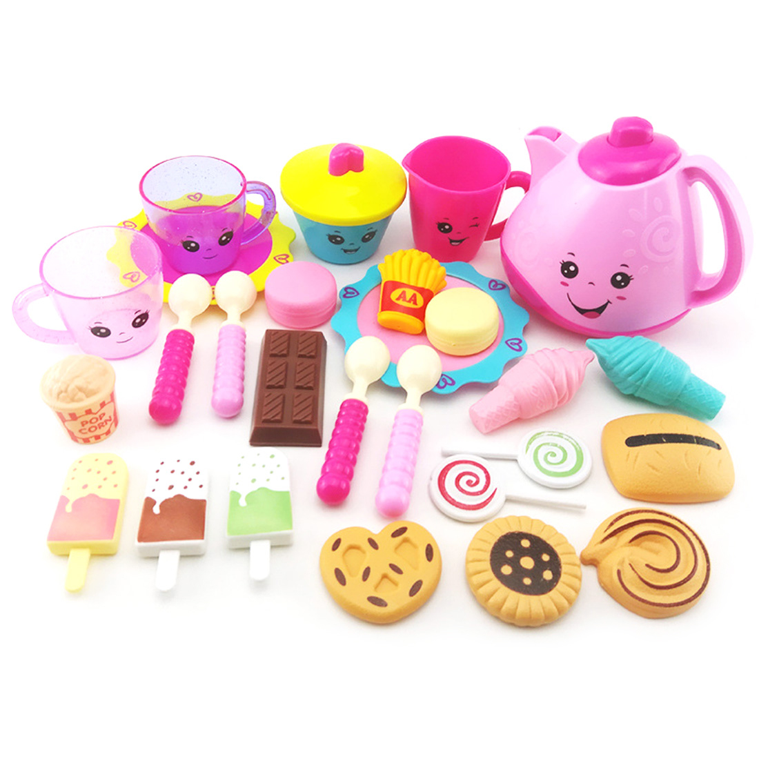 Children Pretend Play Afternoon Tea Toy Girl Teapot And Refreshment Playset Kids Girls Kitchen Pretend Play Toys Set Pink