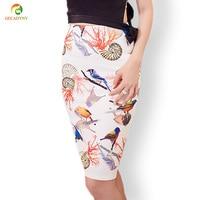 Summer Style Pencil Skirt Women High Waist Skirts Women Vintage 2017 Elegant Lady Bodycon Floral Bird