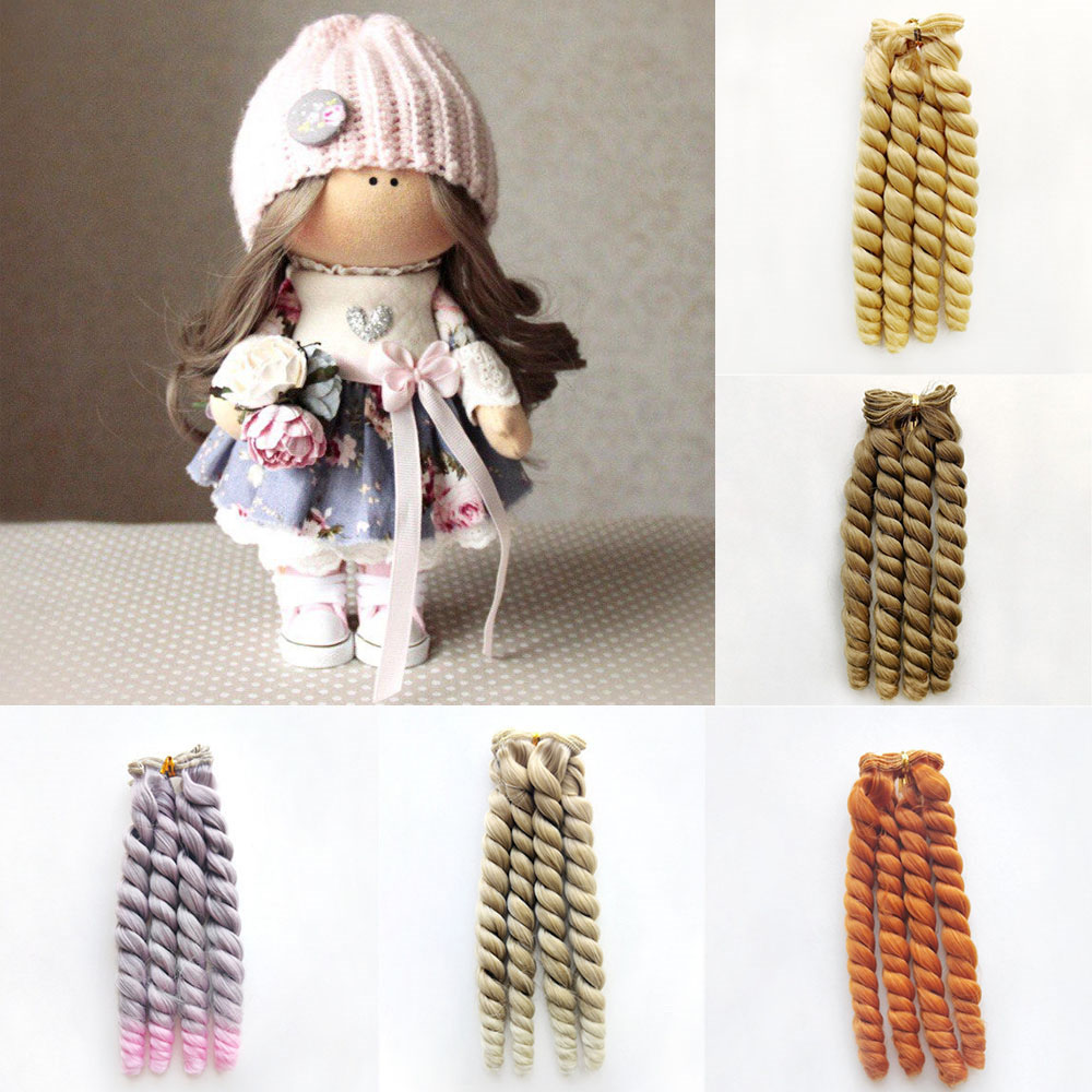 1piece 20cm High Temperature Fiber Curly Hair Extensions for Kurhn/BJD/SD/Pullip/Blyth/American Doll DIY Handmade Wigs