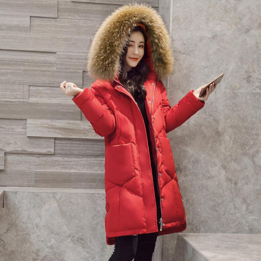 New Winter Down jacket Women 2018 Mid-long Warm white duck Down Parkas Coat Big Fur Collar Hooded Jacket s1320 2015 winter thicken warm woman down jacket tan fur collar coat parkas outerweat slim luxury brand mid long cloak 2xxl black