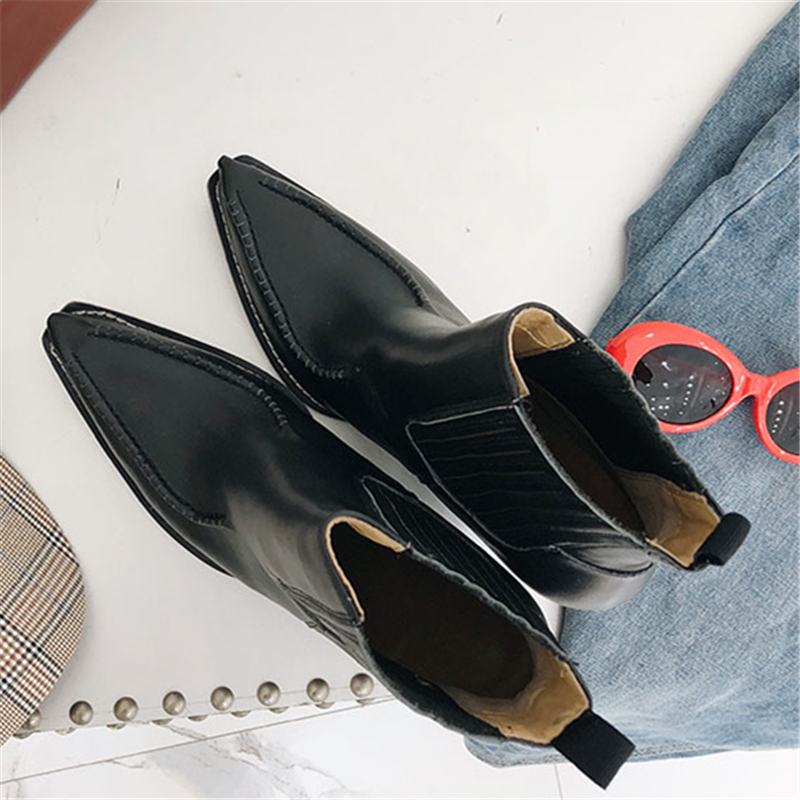 As Cuero Mujer De Mujeres Show Alto Tacón Botas Negro Invierno Caliente Punta Chelsea Vaca Zapatos Tobillo 2019 Diseño Otoño wxq1TpT