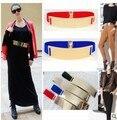 New 14colors Fashion Women's Metal Plate Elastic Metallic Bling Gold Mirror Wide Obi Corset cummerbund Waist Belt