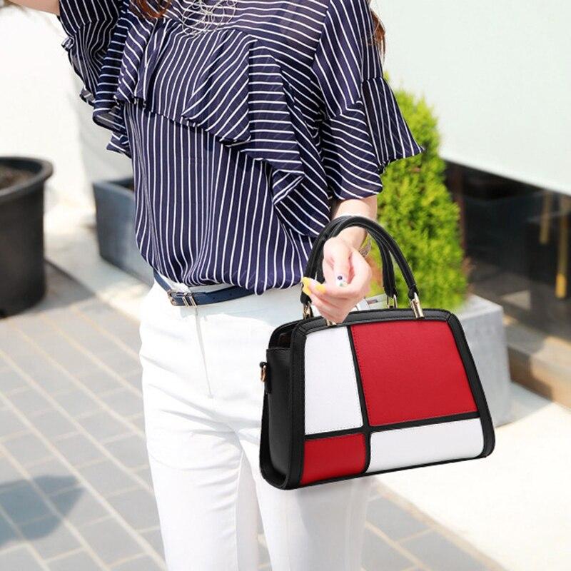 Fourre Design Femmes Dames Tôlé Cuir De Mode Sacs Bao Pu Panneaux Casual Gris Sac Pour À Miikln Rouge En Main Noir tout pP4tHn