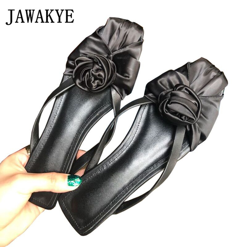 Sexy black silk flower Slippers Women square toe flat Shoes woman ankle cross tied sandals two