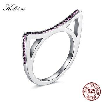 5de95b9dc86d Caletine 925 anillo de plata de ley gato oreja Rosa CZ anillos de dedo  nueva auténtica joyería de plata de lujo mujeres hombres boda KLTR041