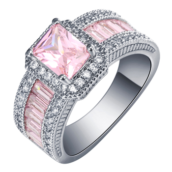 Women's Luxury Large Engagement Ring Jewelry Rings Women Jewelry Ring Size: 8 Main Stone Color: Pink