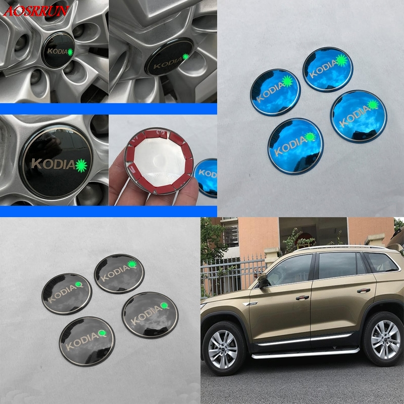 Stainless steel <font><b>Car</b></font> Steering tire <font><b>Wheel</b></font> <font><b>Center</b></font> <font><b>car</b></font> sticker <font><b>Hub</b></font> <font><b>Cap</b></font> Emblem Badge Decals Symbol For <font><b>Skoda</b></font> Kodiaq 2016 2017 styling image