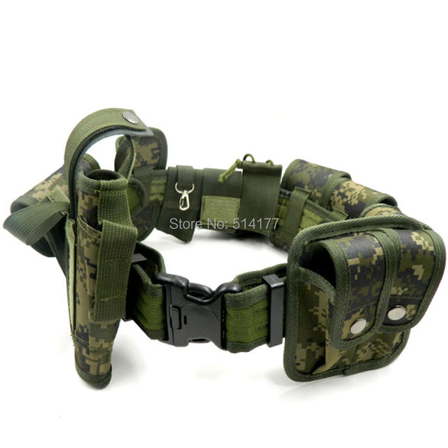 Jungle Camouflage Tactical Belt Set Multifunctional Security Belts Training Guard Utility Heavy Duty Combat Belt Set 10pcs/sets