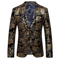 High quality men's business casual suit jacket 2016 gold foil stamping golden suit two button suit blazer men Blaser terno 260