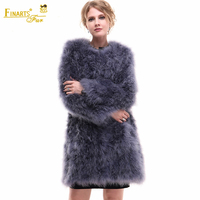 Rare Real Ostrich Feather Coats O neck Fashion Women Genuine Fur Coats Ostrich China Ostrich Fur Clothing Winter Warm Coats