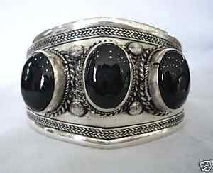 Beautiful Tibet silverblack jadecuff bracelet b-003