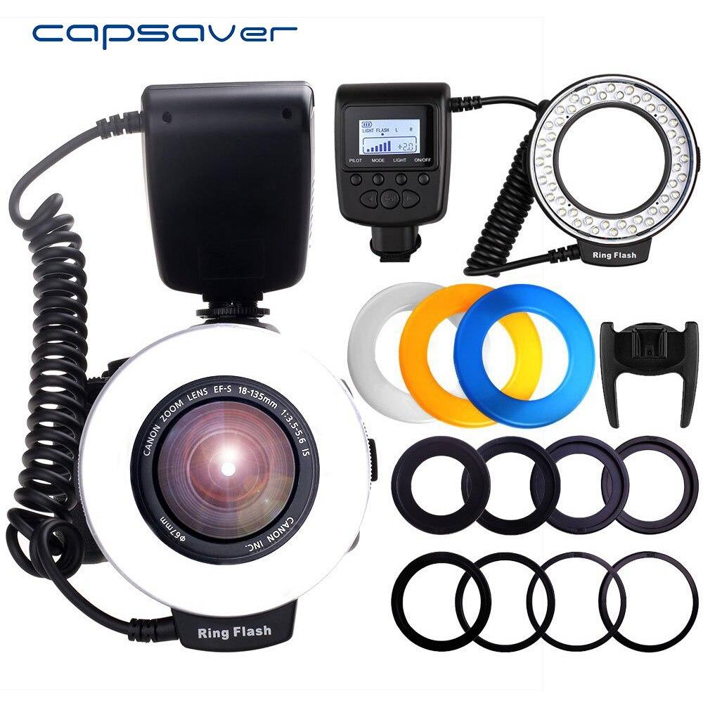 Capsaver RF-550D Macro LED Flash Annulaire Lumière Flash Speedlite pour Canon Nikon Sony Hotshoe Olympus Panasonic Pentax GN15