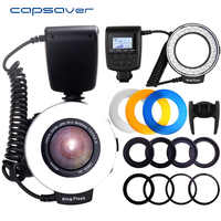 Capsaver RF-550D macro LED anillo de luz de flash speedlite para Canon Nikon Zapata Sony Olympus Panasonic Pentax GN15