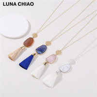Semi Precious Stone Gold Foiled Natural Stone White Marble Stone Silk Tassel Necklace Long Chain Pendant
