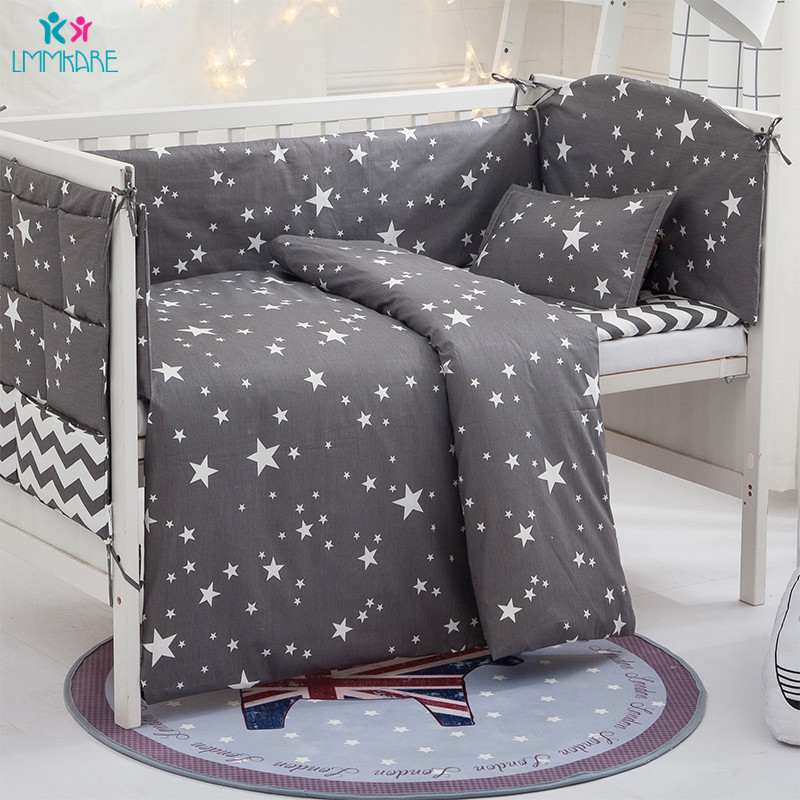 Grey Stars Cotton Breathable Baby Bedding Sets Newborn Crib Bumper Include Baby Pillow+Bumpers+Sheet+Duvet Cover Babies Products