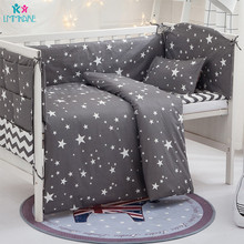 цена на Grey Stars Cotton Breathable Baby Bedding Sets Newborn Crib Bumper Include Baby Pillow+Bumpers+Sheet+Duvet Cover Babies Products
