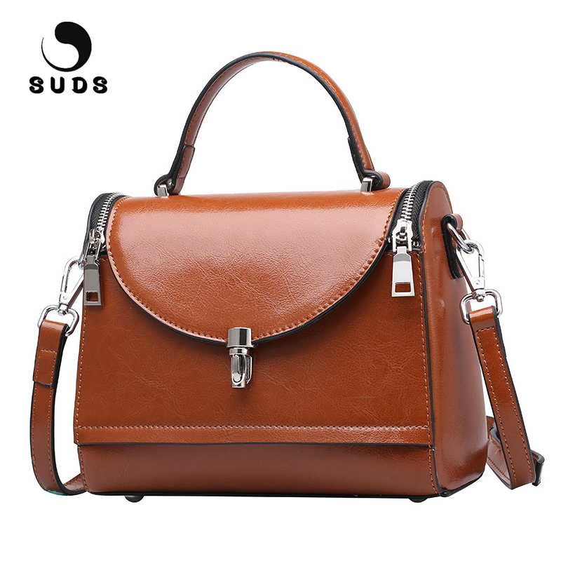 SUDS Brand Women Genuine Leather Shoulder Bags Designer High Quality Crossbody Bags For Women Cow Leather Travel Messenger Bags