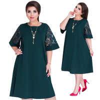 6xl plus size vestidos festa de verão vestidos de outono feminino vermelho verde solto midi vestido de festa costura vestido manga renda tamanhos grandes