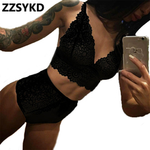 ZZSYKD 2018 Summer home clothes Sexy Pajamas for Women Nightwear Ladies Sleepwear Lace and embroidery Transparent Lingerie Set