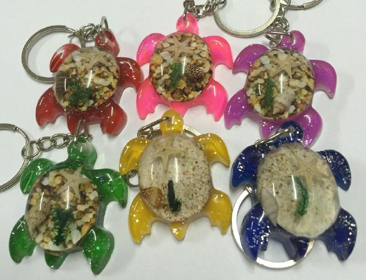 free shipping 50 PCS Turtle design mix colorful fashion keychain starfish jewelry fine keyring TAXIDERMY GIFT