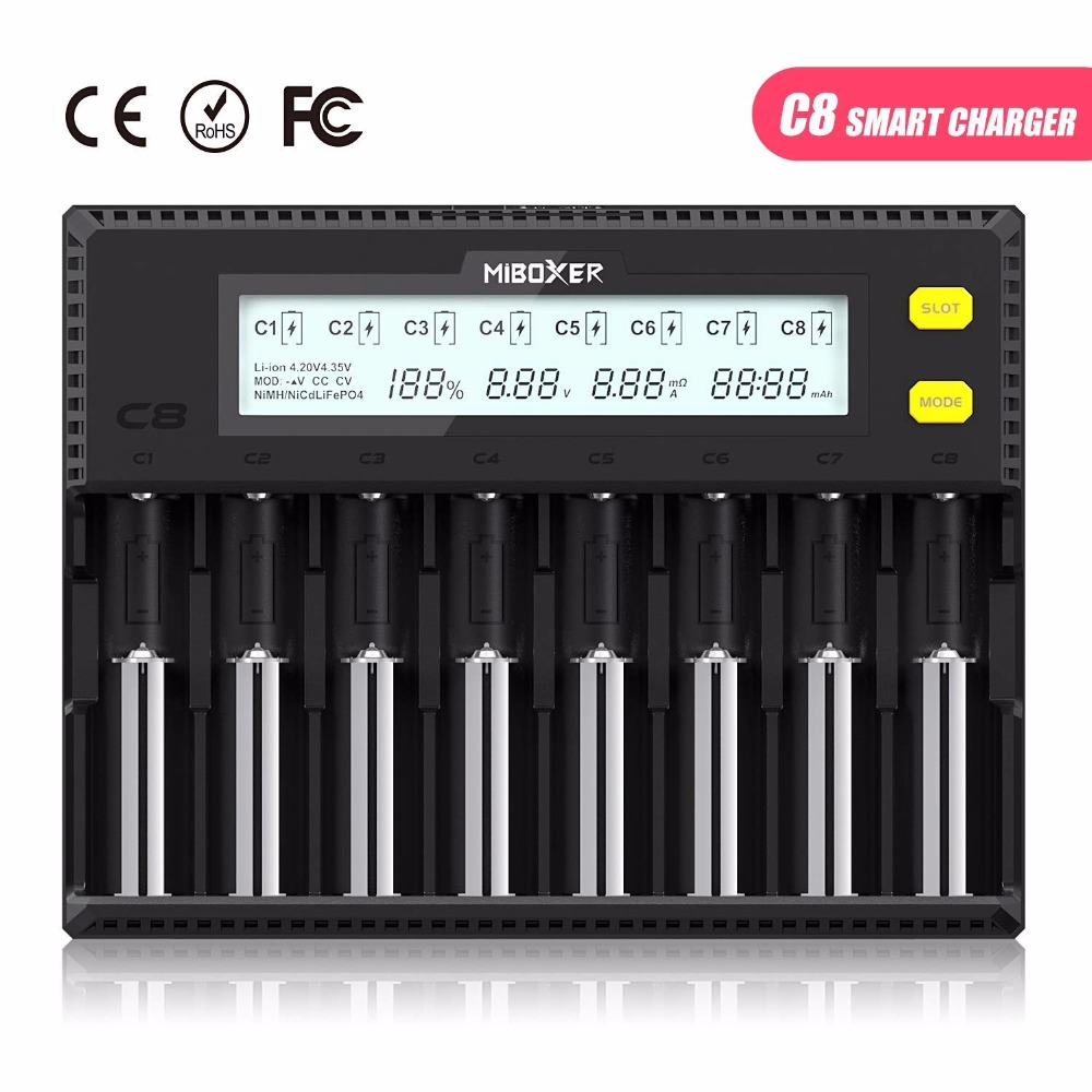 MiBOXER Battery Charger 8Slots LCD Display for Li-ion LiFePO