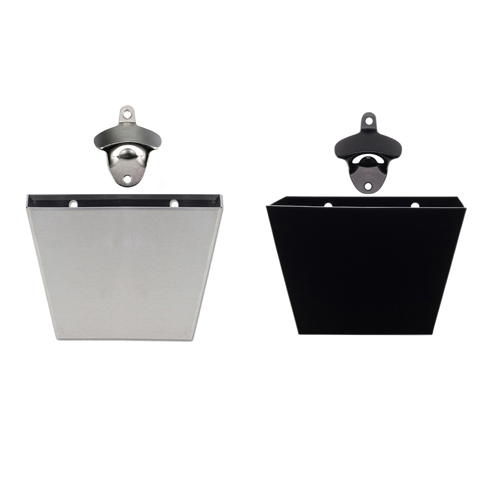 2019 New Useful Stainless Steel Wall-mounted Bottle Opener With Bottle Cap Collection Bucket Includes Screw *4+ Hose*4