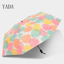 YADA Blue & Yellow Maple Leaf Pattern Umbrella Rain Women uv Sunny and Rainy For Womens Folding Clear Umbrellas YS024
