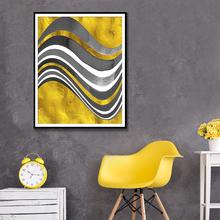 Abstract Grey White Gold Paint Canvas Painting Poster And Print Minimalist Home Decoration Pictures