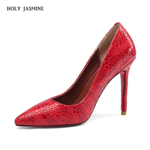 pumps woman heels 2019 Summer slip on pointed toe red designer shoes women luxury red high heels Genuine Leather Elegant shoes недорго, оригинальная цена