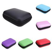Mini dysk zewnętrzny twardy futerał torby zestaw słuchawkowy słuchawki kabel przenoszenia pudełko do przechowywania na telefon kabel USB ładowarka etui na powerbank nowy tanie tanio W ALLOYSEED PU Skóra PU + EVA Black Green Purple Pink Ssky Blue Red 120 X 80 X 40 mm approx