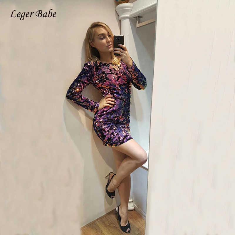 4bcb636641 2018 New Designer Long Sleeve Sequined Colorful Women Dress Nightclub Mini  Outfit Shining Runway Autumn Winter