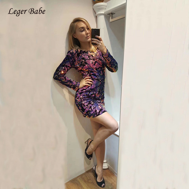 2018 New Designer Long Sleeve Sequined Colorful Women Dress Nightclub Mini Outfit Shining Runway Autumn Winter Dresses Bodycon