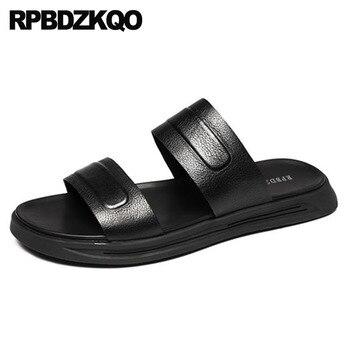 Slippers Water 2018 Slip On Slides Men Sandals Leather Summer Open Toe Black Strap Fashion Platform Beach Flat Shoes Italian