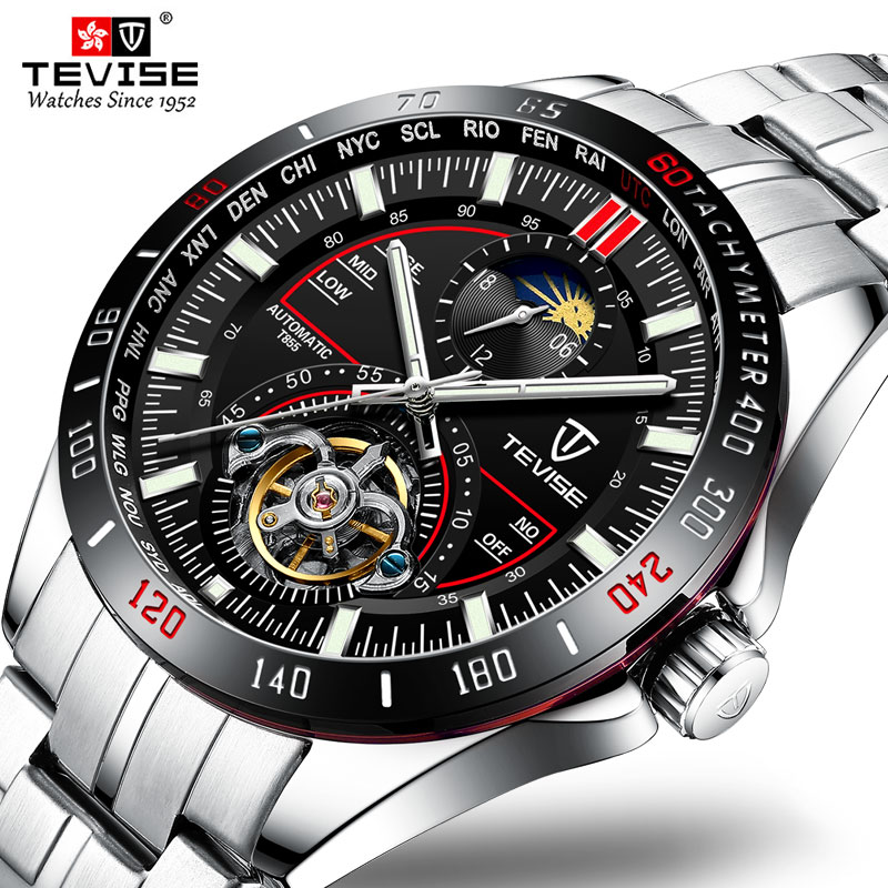 Top Brand Luxury TEVISE Luminous Watch Mens Stainless Steel Strap Sports Waterproof Wrist Watches For BusinessTop Brand Luxury TEVISE Luminous Watch Mens Stainless Steel Strap Sports Waterproof Wrist Watches For Business