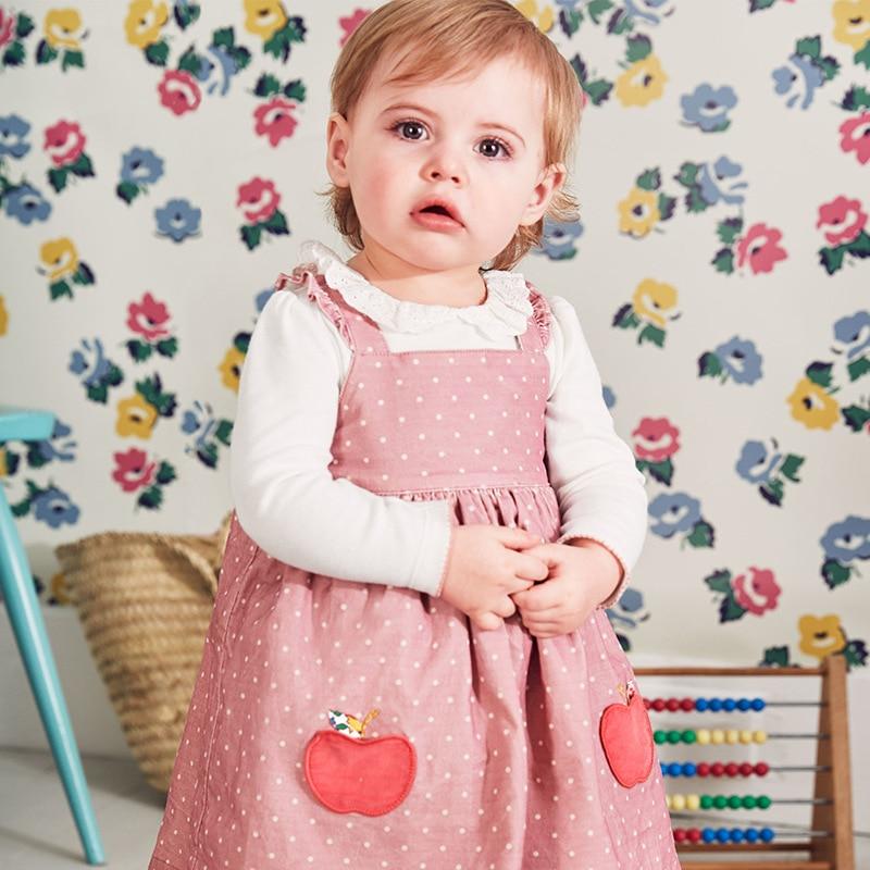 Little maven kids brand clothes 2019 autumn baby girls Cotton pink dot sundress girl sleeveless fruit dresses Q0054
