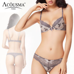 Image 2 - ACOUSMA ผู้หญิงเซ็กซี่ Bra และชุดกางเกงดอกไม้ Lace Bowknot 3/4 ถ้วย Push Up หญิงชุดชั้นในไม่มีรอยต่อ T กลับ thongs 8 สี